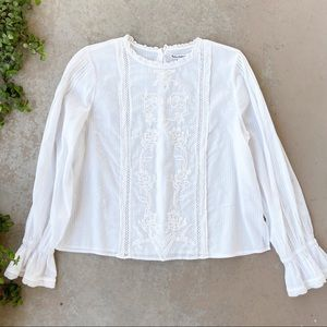 Reformation Bessie Embroidered Lace Peasant Top